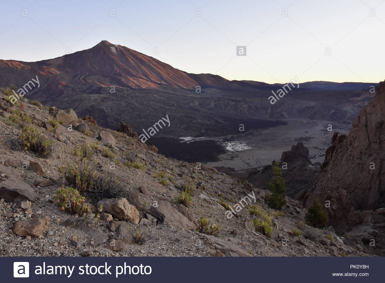 Llano de Ucanca - volcanic valley and Mount Teide 3718 m high peak at dawn, Teide National Park Tenerife Canary Islands Spain. - Stock Image