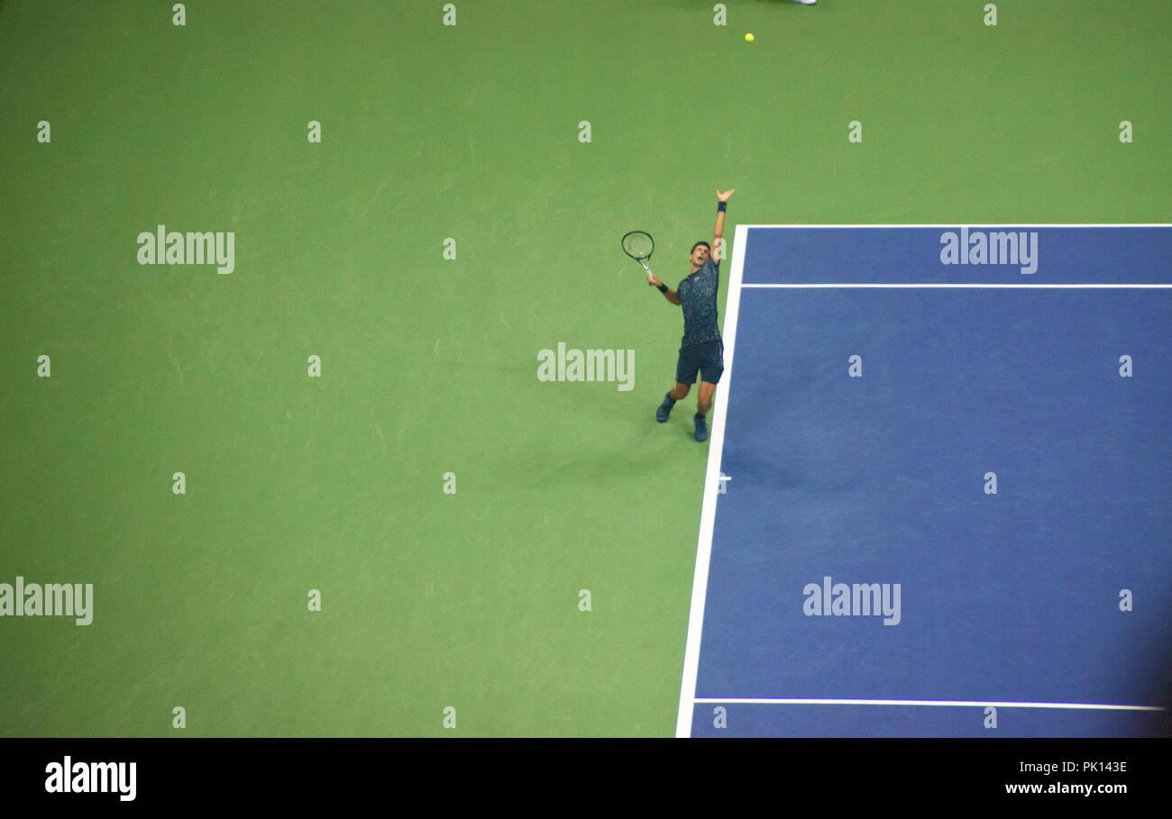 Novak Djokovic playing at the US Open Tennis 2018 - Stock Image