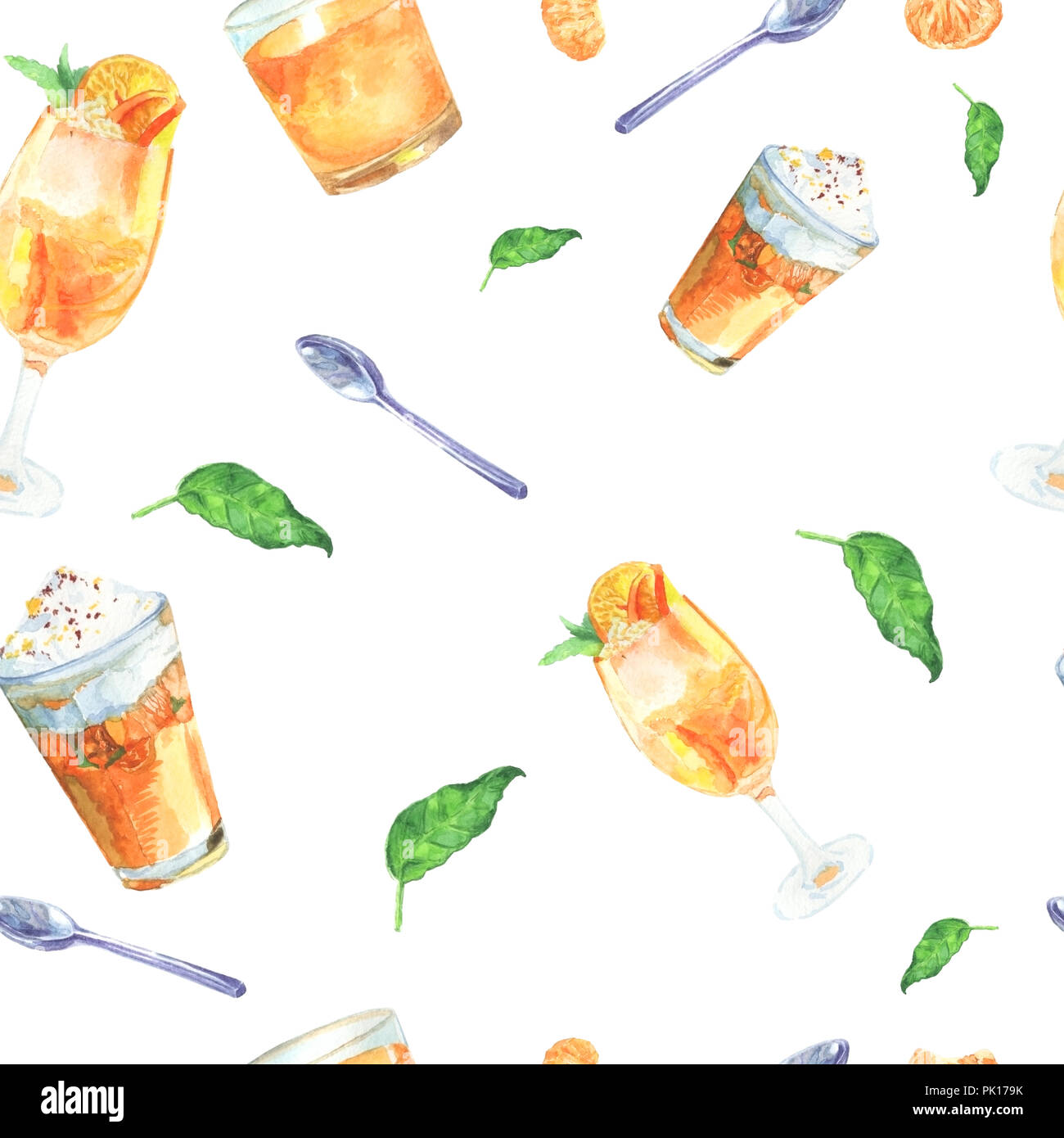 Seamless Pattern Tangerine Cocktail Spoon And Leaves Handmade Watercolor Glasses Leaves And Spoon For Design Templates For Printing On Paper And Stock Photo Alamy