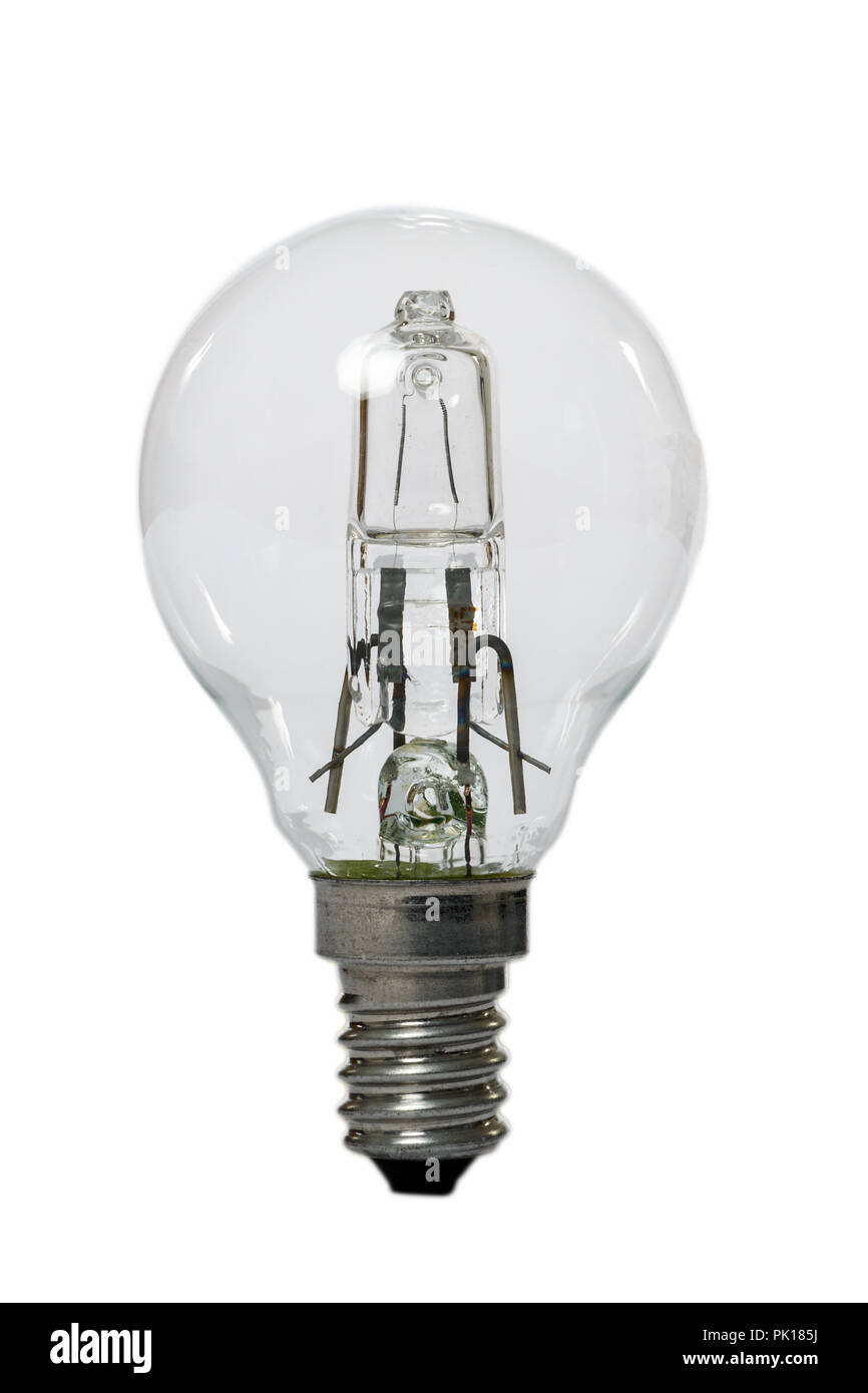 Halogen lamp with opaque glass bulb and E27 connection. Old standard of consumption obsolete and prohibited by current regulations. - Stock Image