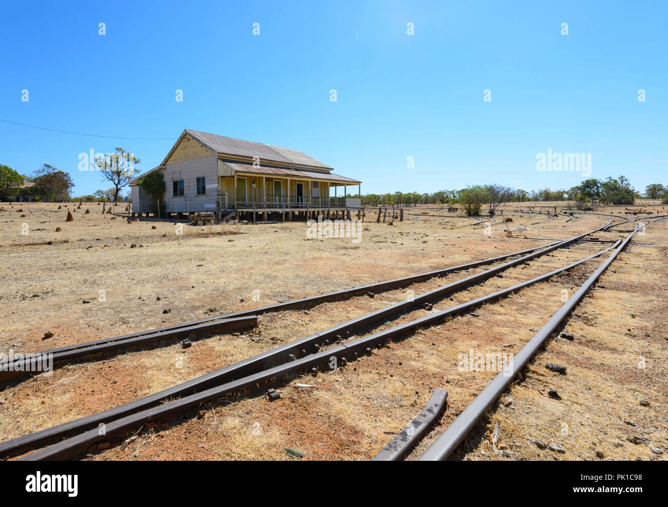 View of Almaden railway station, where the Savannahlander stops, Northern Queensland, QLD, Australia - Stock Image
