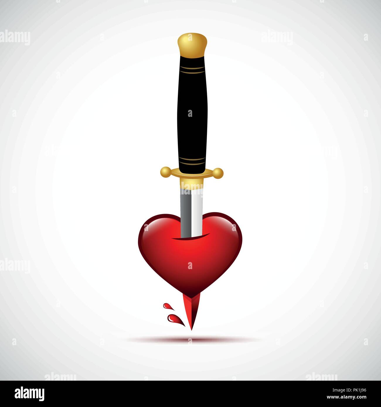 broken heart with blood and dagger inside vector