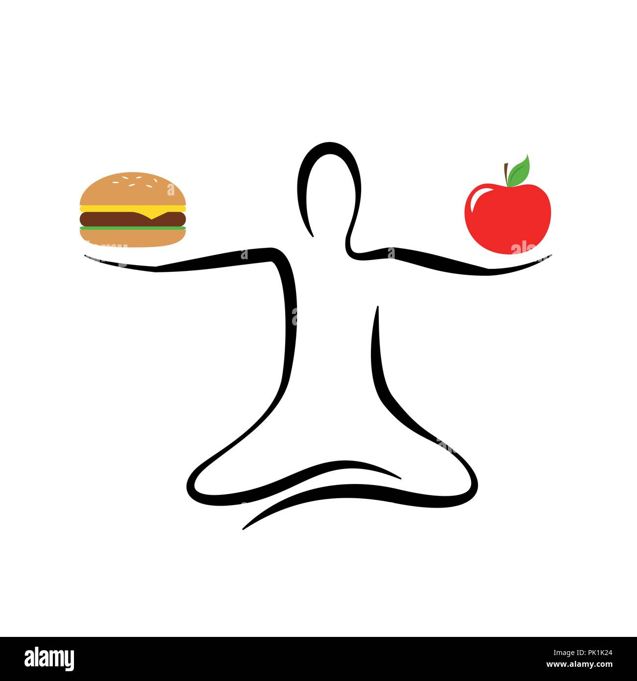 healthy apple and unhealthy fast food yoga pose vector illustration EPS10 - Stock Vector