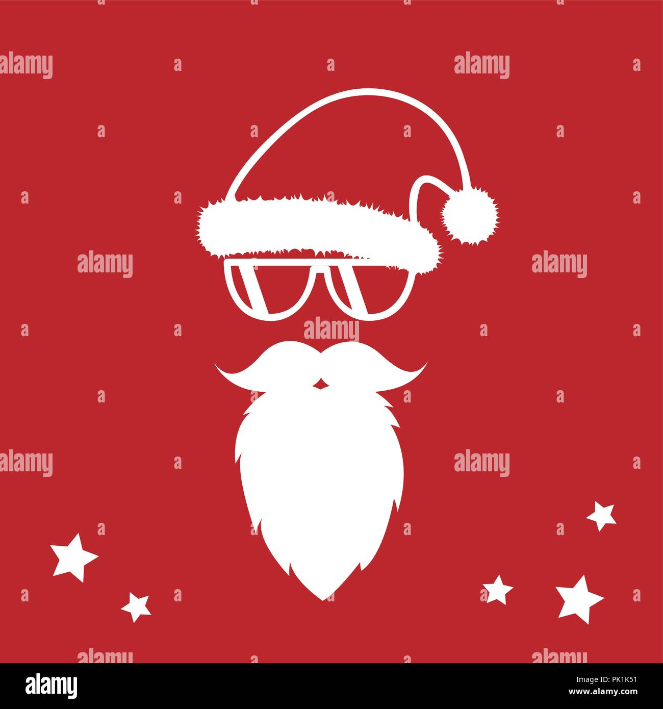 Christmas Card Design.Hipster Santa Claus With Cool Beard And Sunglasses Merry