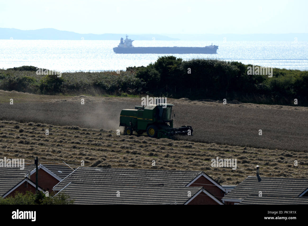 combine harvester works a field of wheat while a ship passes by in the distance on a sparkling sea - Stock Image