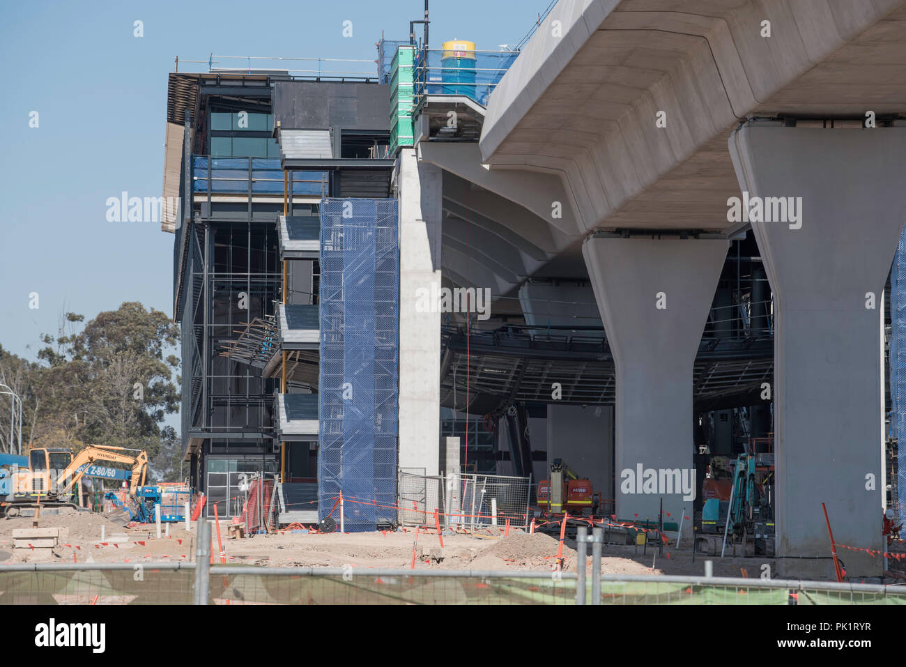 August 2018 Kellyville (Sydney) NSW, Construction of the Sydney Metro Northwest rail line is presently on budget and ahead of schedule - Stock Image