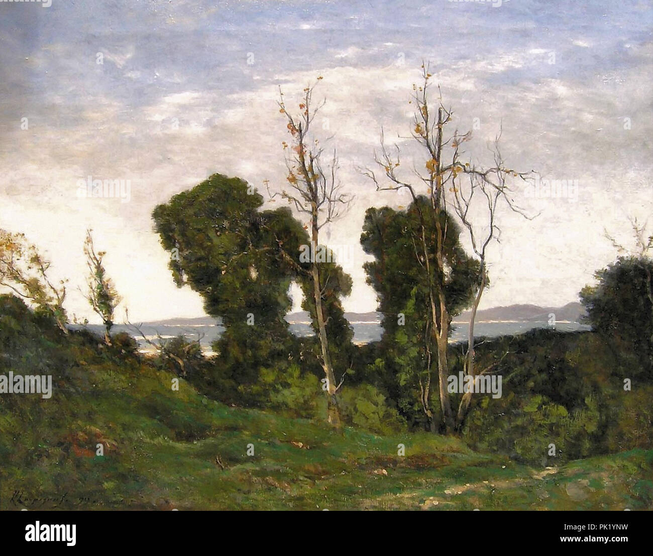 Harpignies  Henri Joseph - Landscape in Evening Light - Stock Image