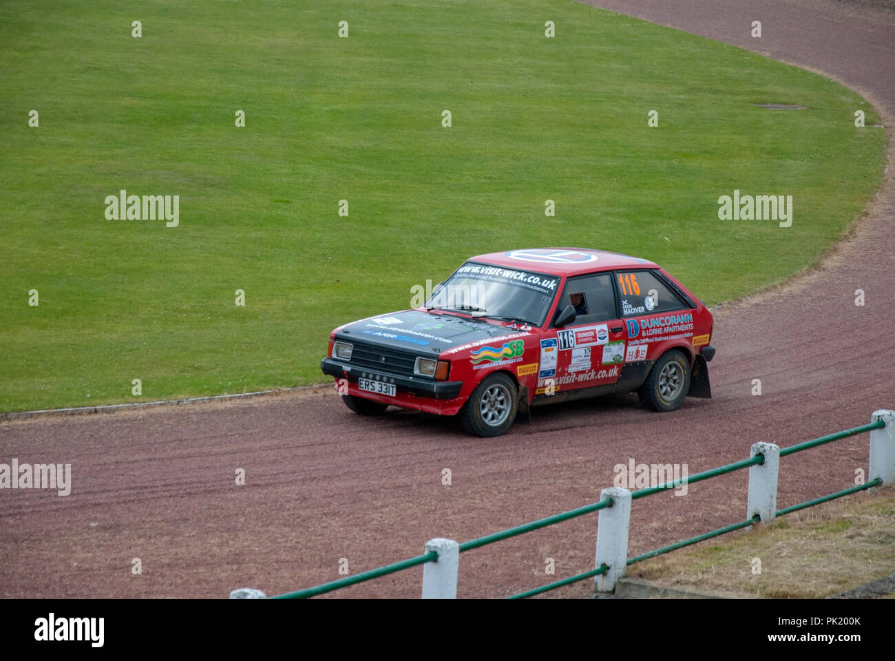 The 1979 Red Talbot Sunbeam of James Campbell Argyll Rally Dunoon 2018 left nearside passenger side view of red rally prepared sports hatchback talbot - Stock Image