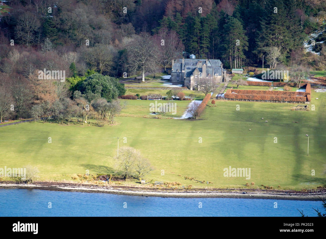 Ardtaraig House Ardtaraig Estate Glen Lean Loch Striven near Dunoon Argyll Scotland U.K. exterior view traditional 17th century scots revival two stor - Stock Image
