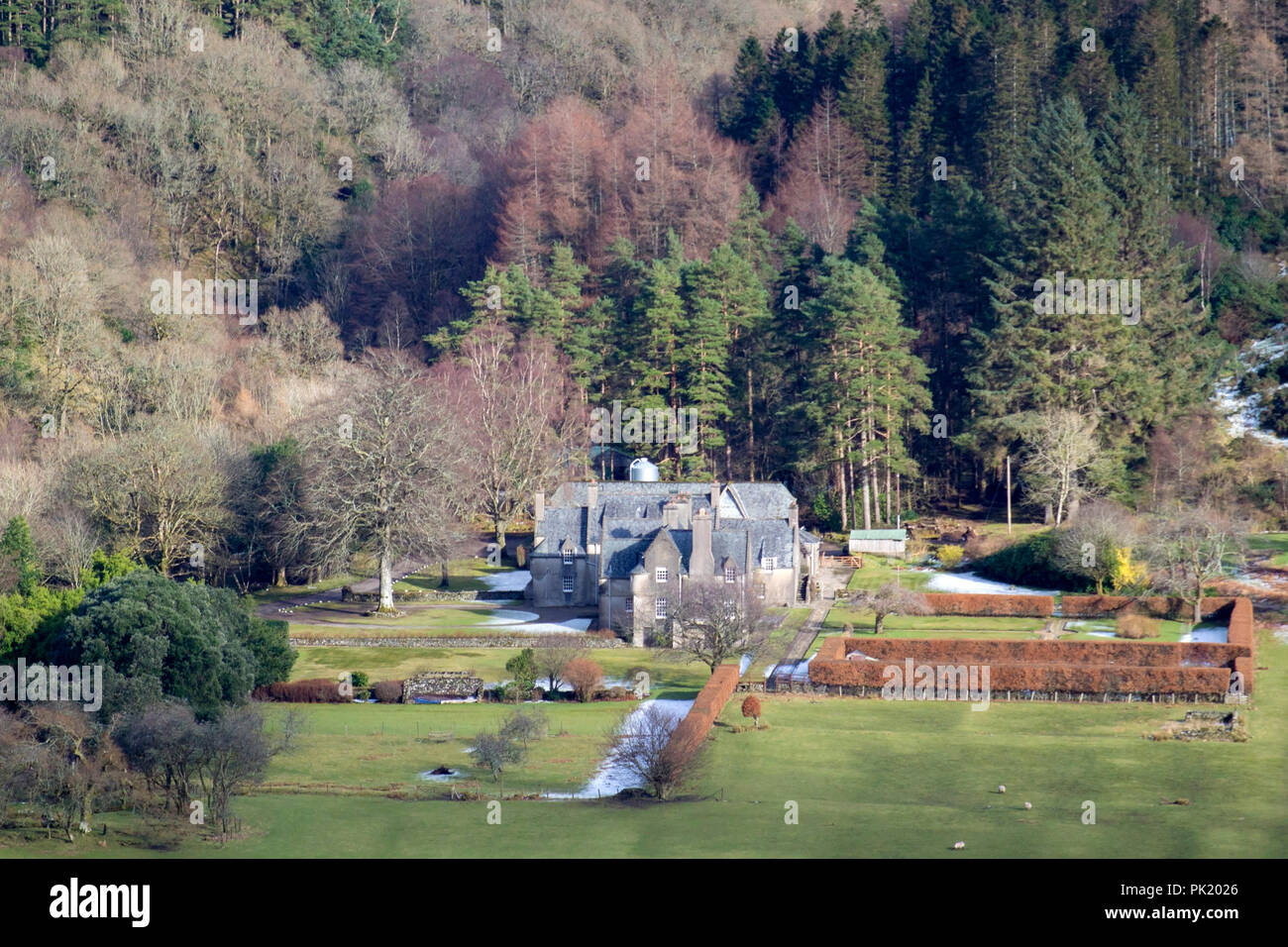 Ardtaraig House Ardtaraig Estate Glen Lean Loch Striven near Dunoon Argyll Scotland U.K. exterior view traditional 17th century scots revival two stor Stock Photo