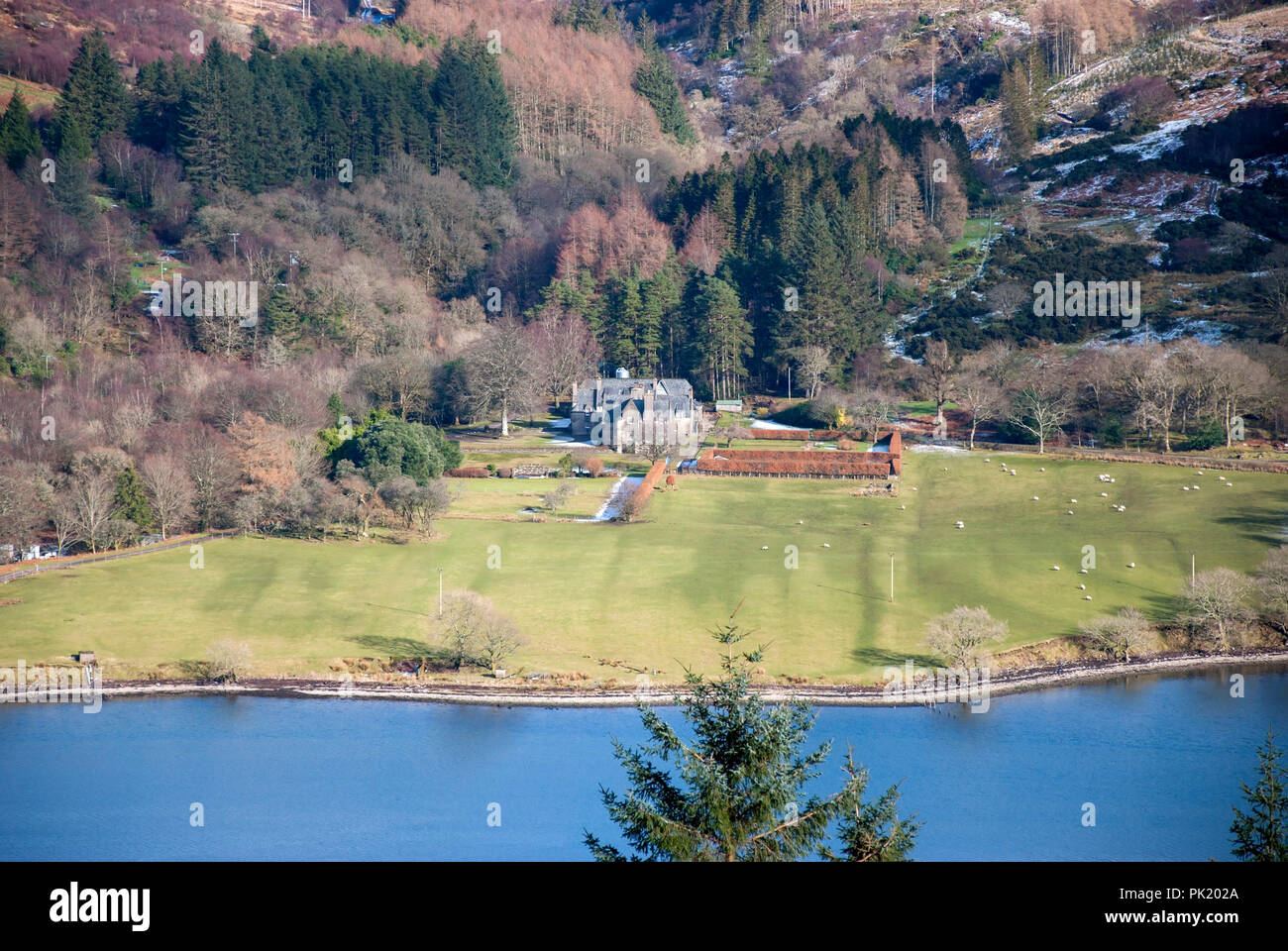 Ardtaraig House Ardtaraig Estate Glen Lean Loch Striven near Dunoon Argyll Scotland U.K. elevated view traditional 17th century scots revival two stor - Stock Image