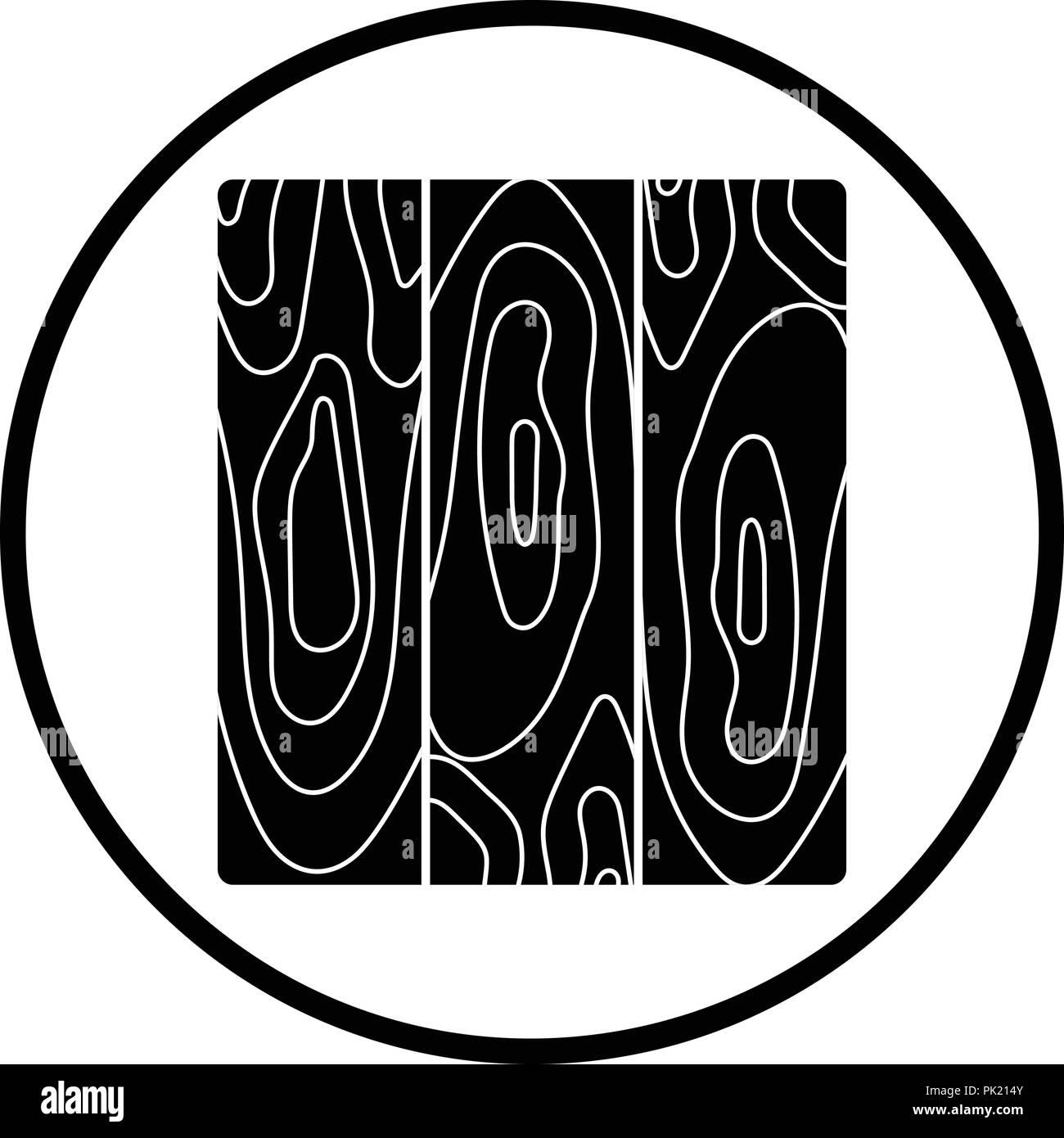 Icon of parquet plank pattern. Thin circle design. Vector illustration. Stock Vector