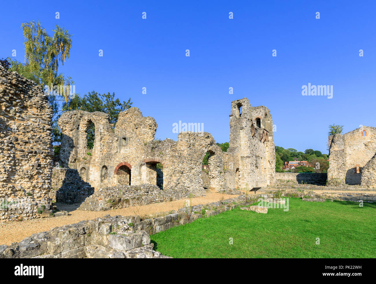 Ruins of ancient medieval Wolvesey Castle (Old Bishop's Palace) in Winchester, Hampshire, southern England, UK on a bright sunny day with blue sky Stock Photo