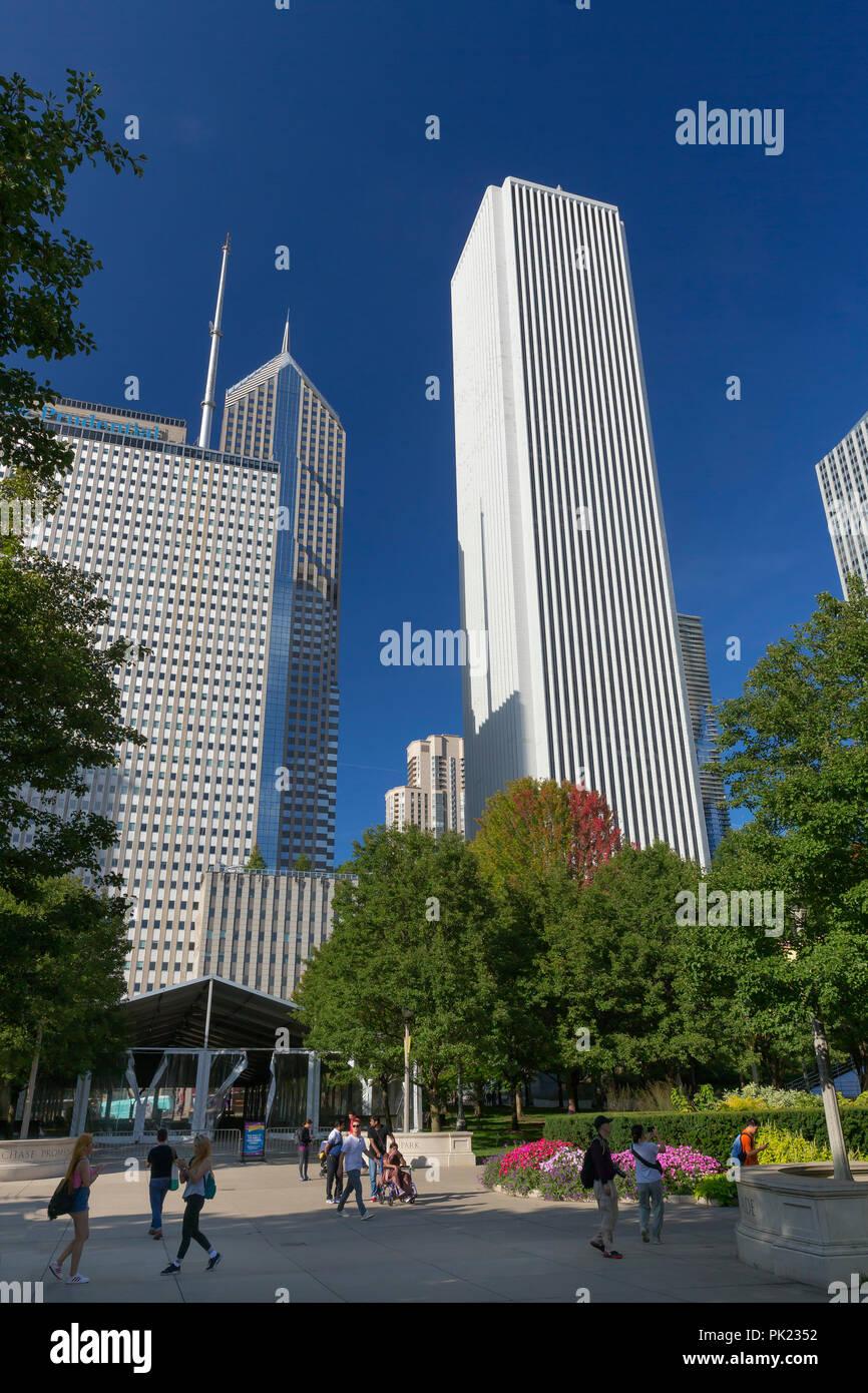Summer flowers in bloom, Millennium Park, Chicago city center, Illinois, USA - Stock Image