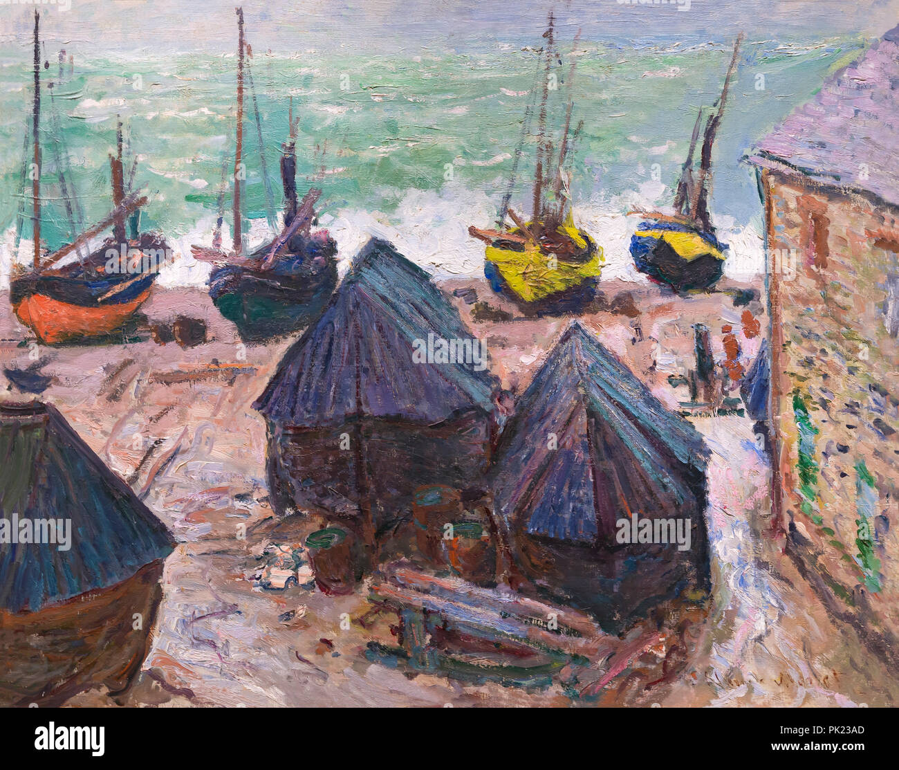 Boats on a Beach at Etretat, Claude Monet, 1885, Art Institute of Chicago, Chicago, Illinois, USA, North America, - Stock Image