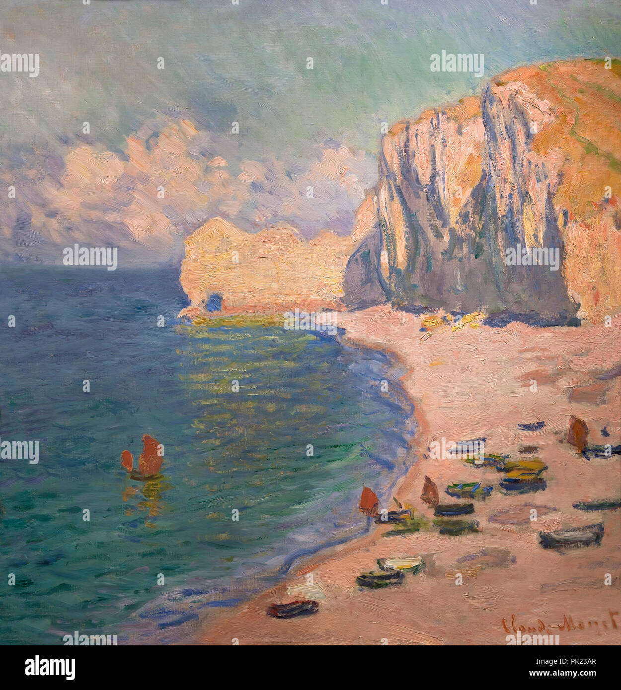 Etretat The Beach and the Falaise d'Amont, Claude Monet, 1885, Art Institute of Chicago, Chicago, Illinois, USA, North America, Stock Photo