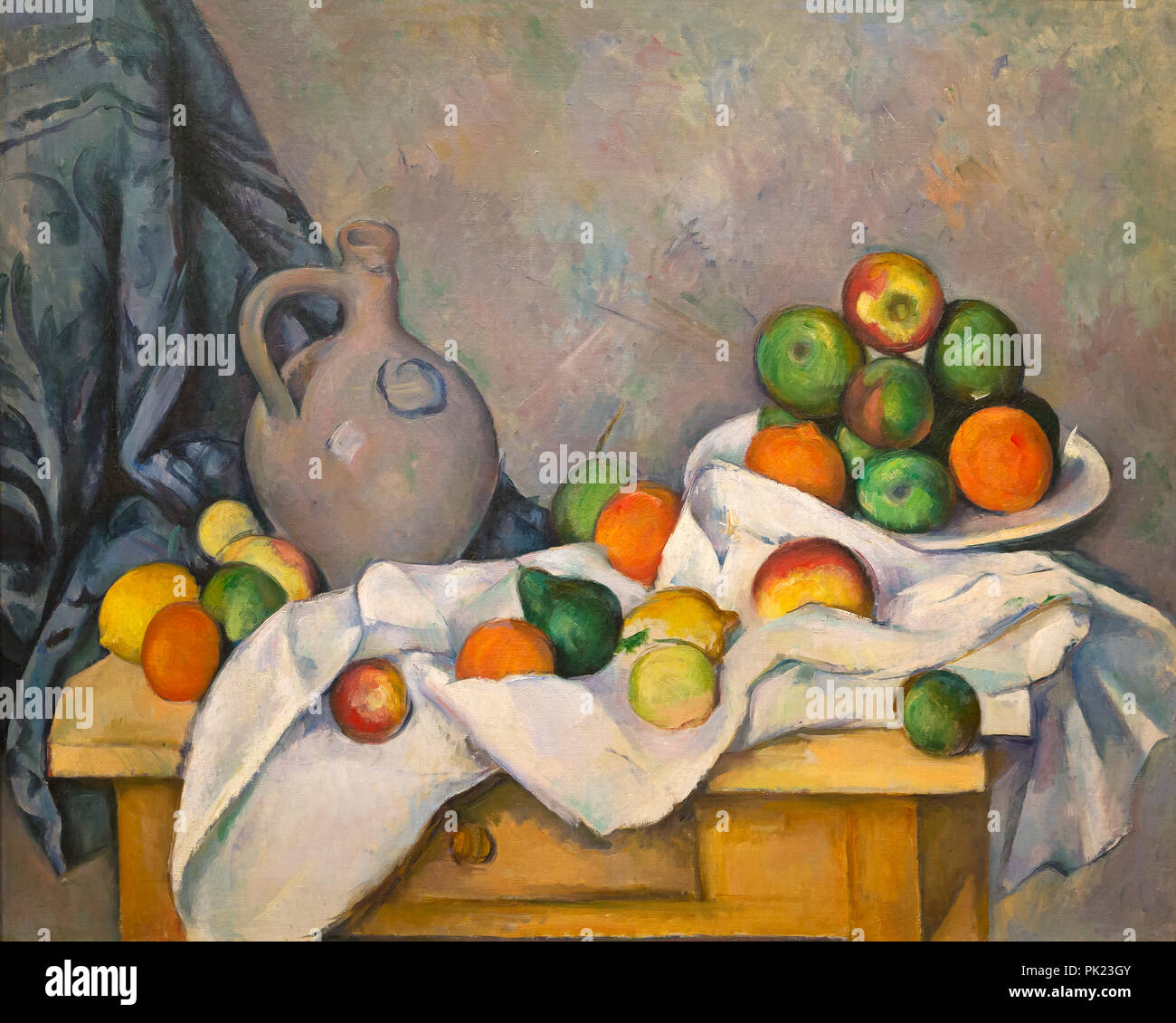 Curtain Pitcher and a Fruit Bowl, Paul Cezanne, 1893-1894, Art Institute of Chicago, Chicago, Illinois, USA, North America, - Stock Image