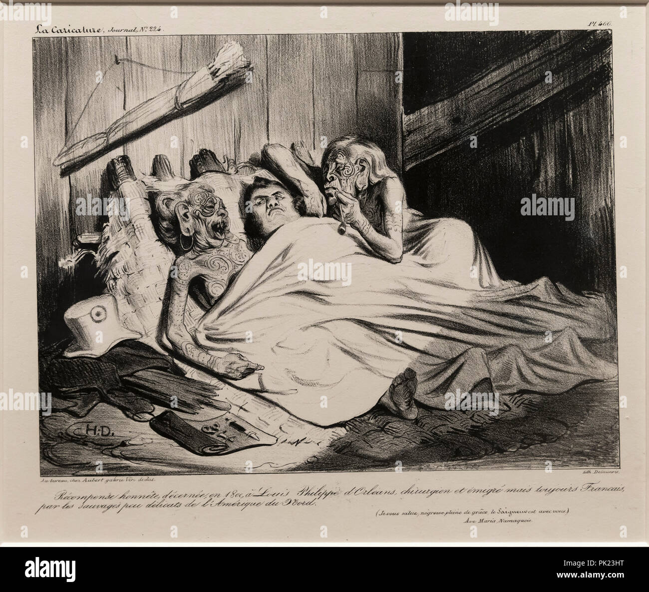 A Fair Reward presented in 1800 by the un-prudish savages of North America to Louis Philippe of Orleans, surgeon and expatriate, but still a Frenchman - Stock Image