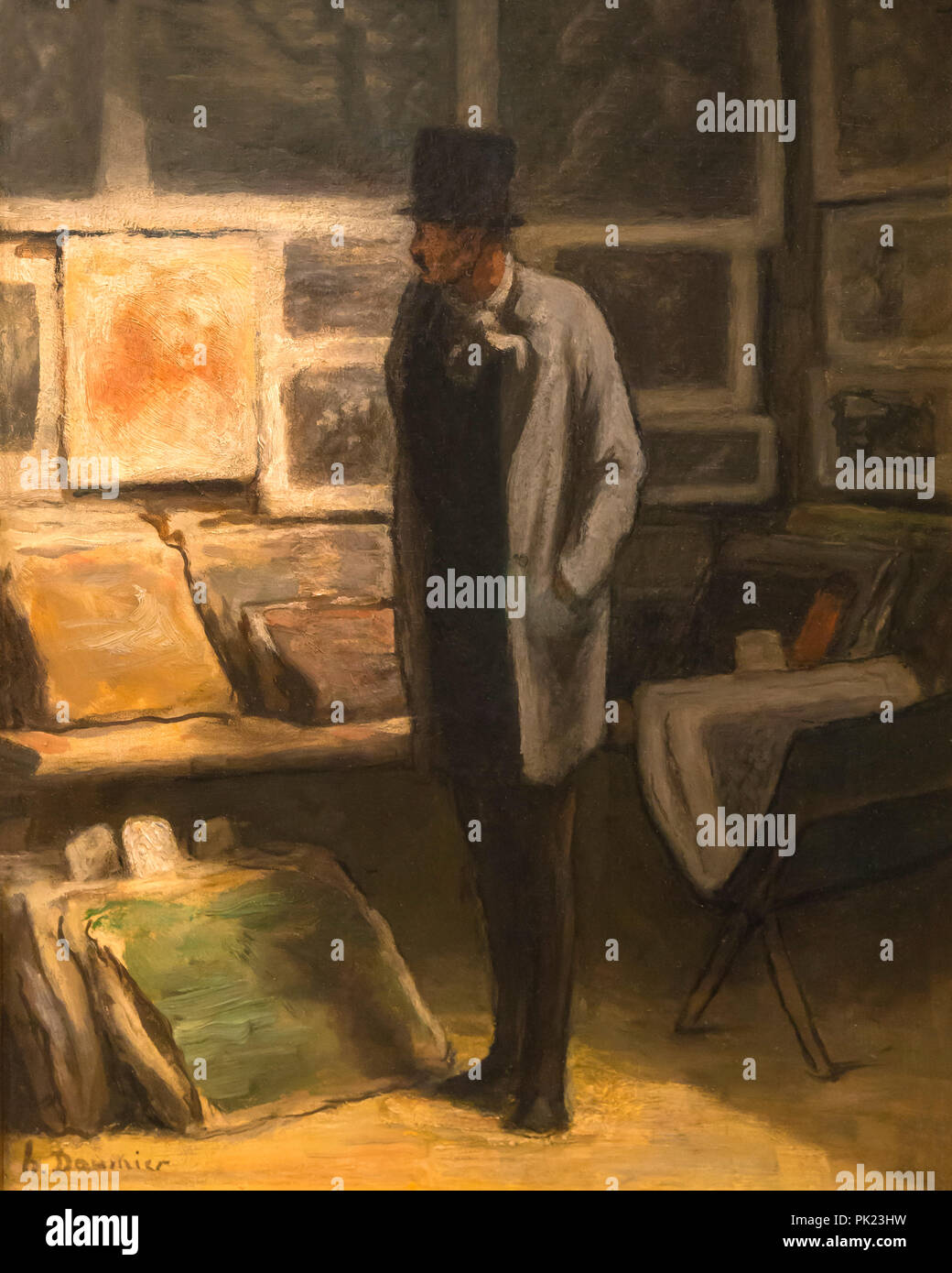 The Print Collector, Honore Daumier, 1857-1863, Art Institute of Chicago, Chicago, Illinois, USA, North America, - Stock Image