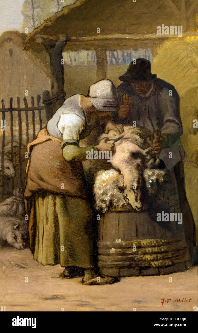 The Sheepshearers, Jean-Francois Millet, 1857-1861, Art Institute of Chicago, Chicago, Illinois, USA, North America, - Stock Image