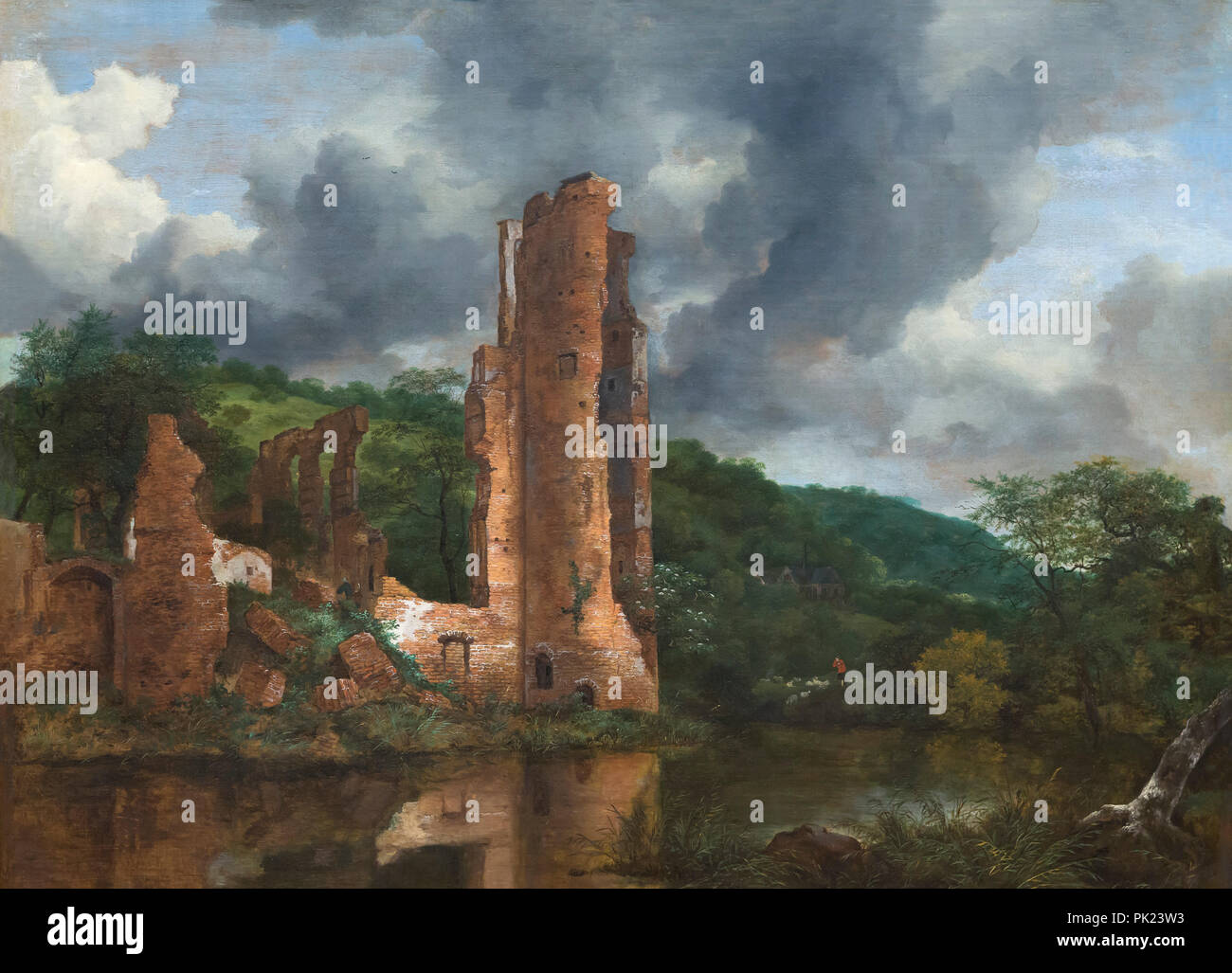 Landscape with the Ruins of the Castle of Egmond, Jacob van Ruisdael, 1650-1655, Art Institute of Chicago, Chicago, Illinois, USA, North America, - Stock Image