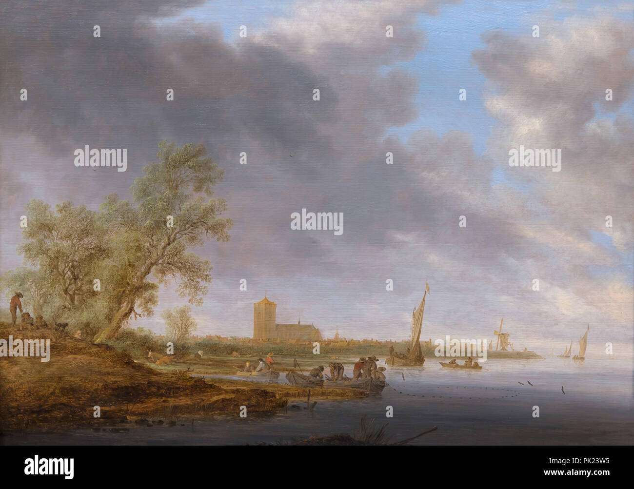 River Landscape with a View of Naarden, Salomon van Ruysdael, 1642, Art Institute of Chicago, Chicago, Illinois, USA, North America, Stock Photo