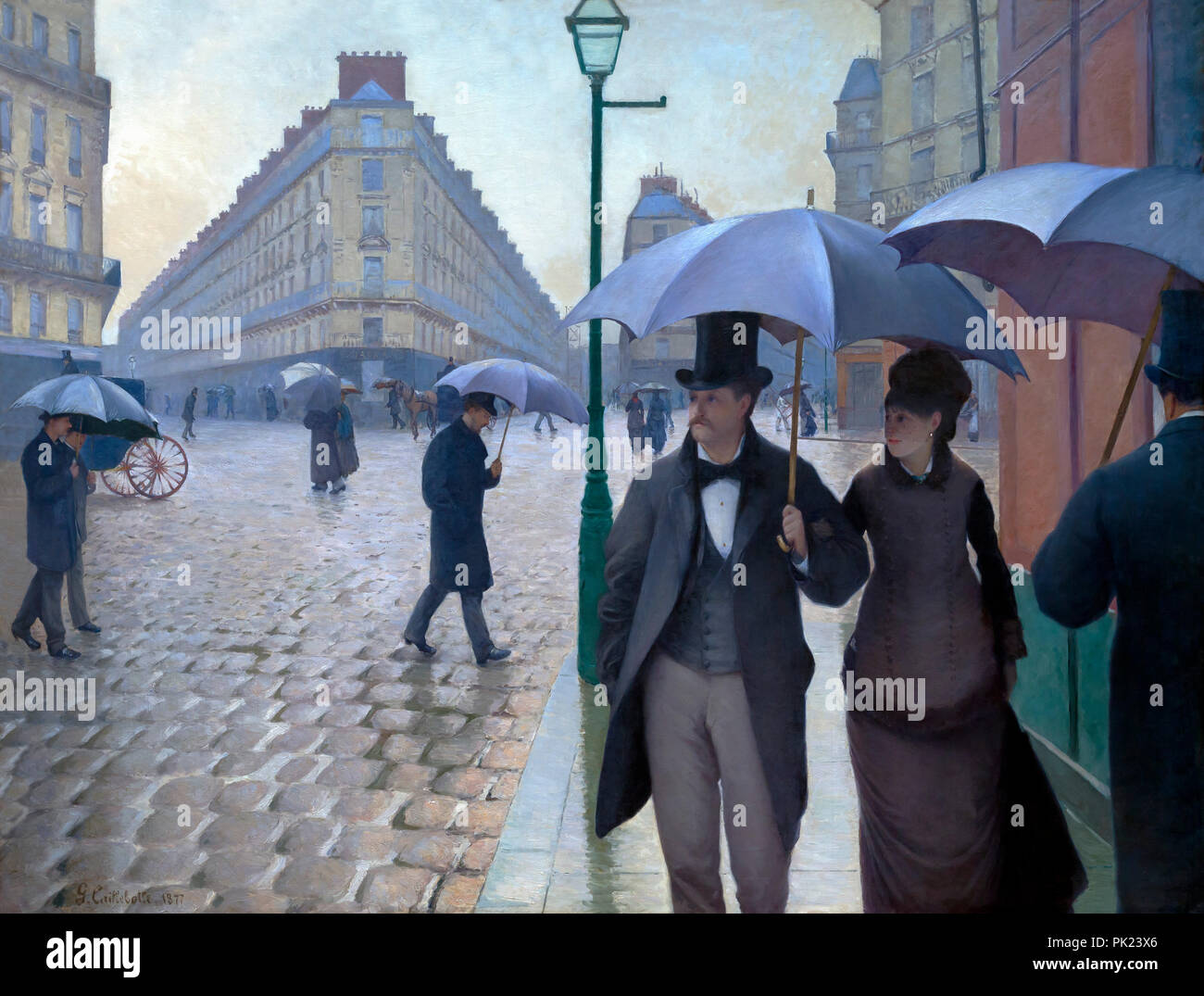 Paris Street, Rainy Day, Gustave Caillebotte, 1877, Art Institute of Chicago, Chicago, Illinois, USA, North America, - Stock Image