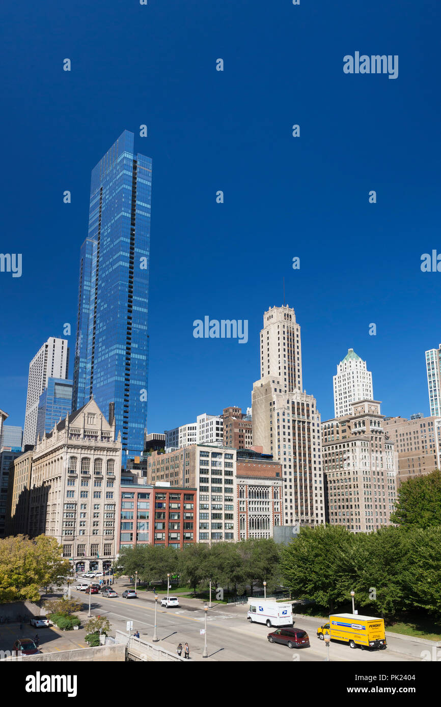 South Michigan Avenue from the Art Institute of Chicago, Chicago, Illinois, USA, North America, - Stock Image