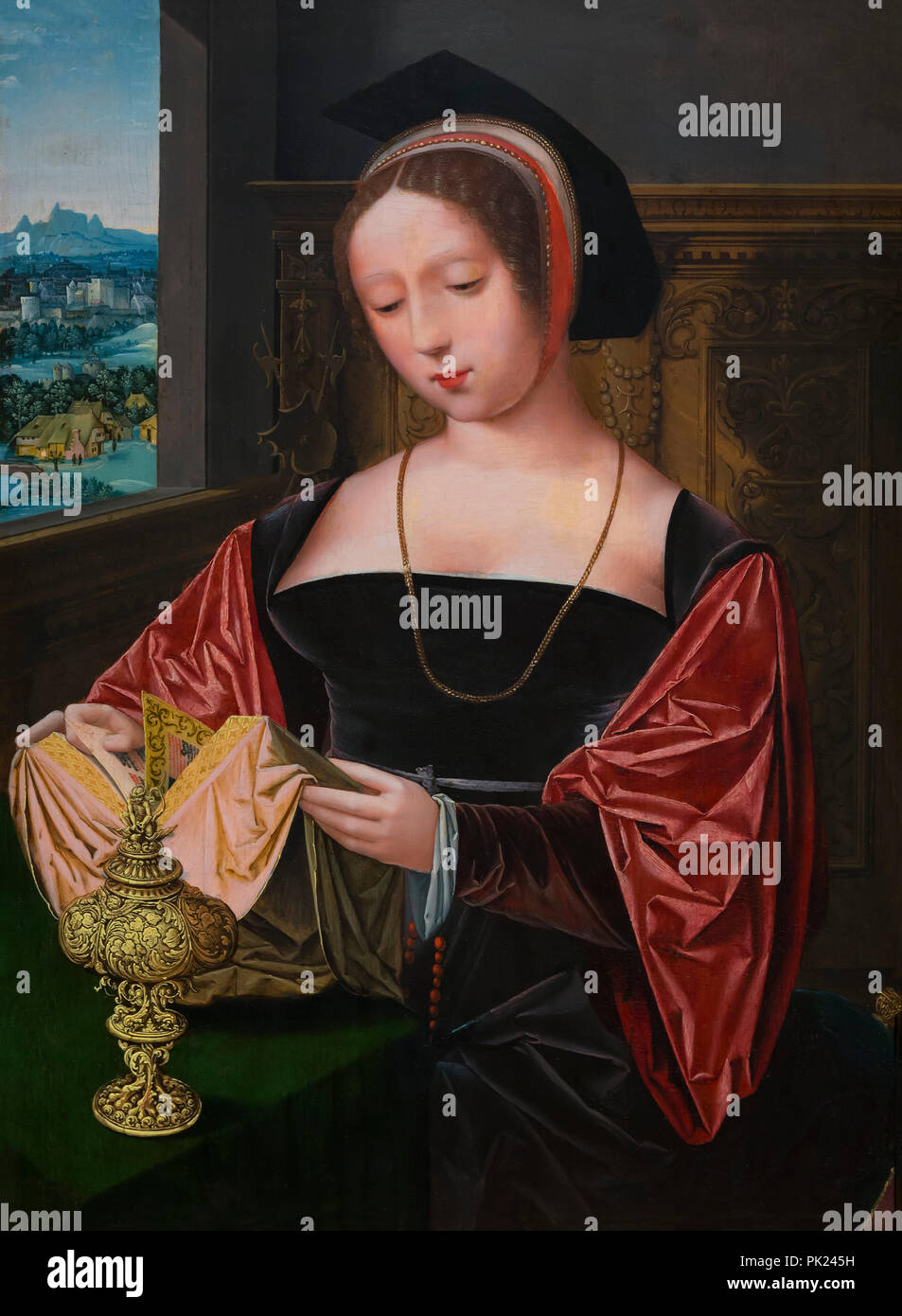 A Lady Reading, Saint Mary Magdalene, Master of Female Half-Lengths, circa 1530, Art Institute of Chicago, Chicago, Illinois, USA, North America, - Stock Image