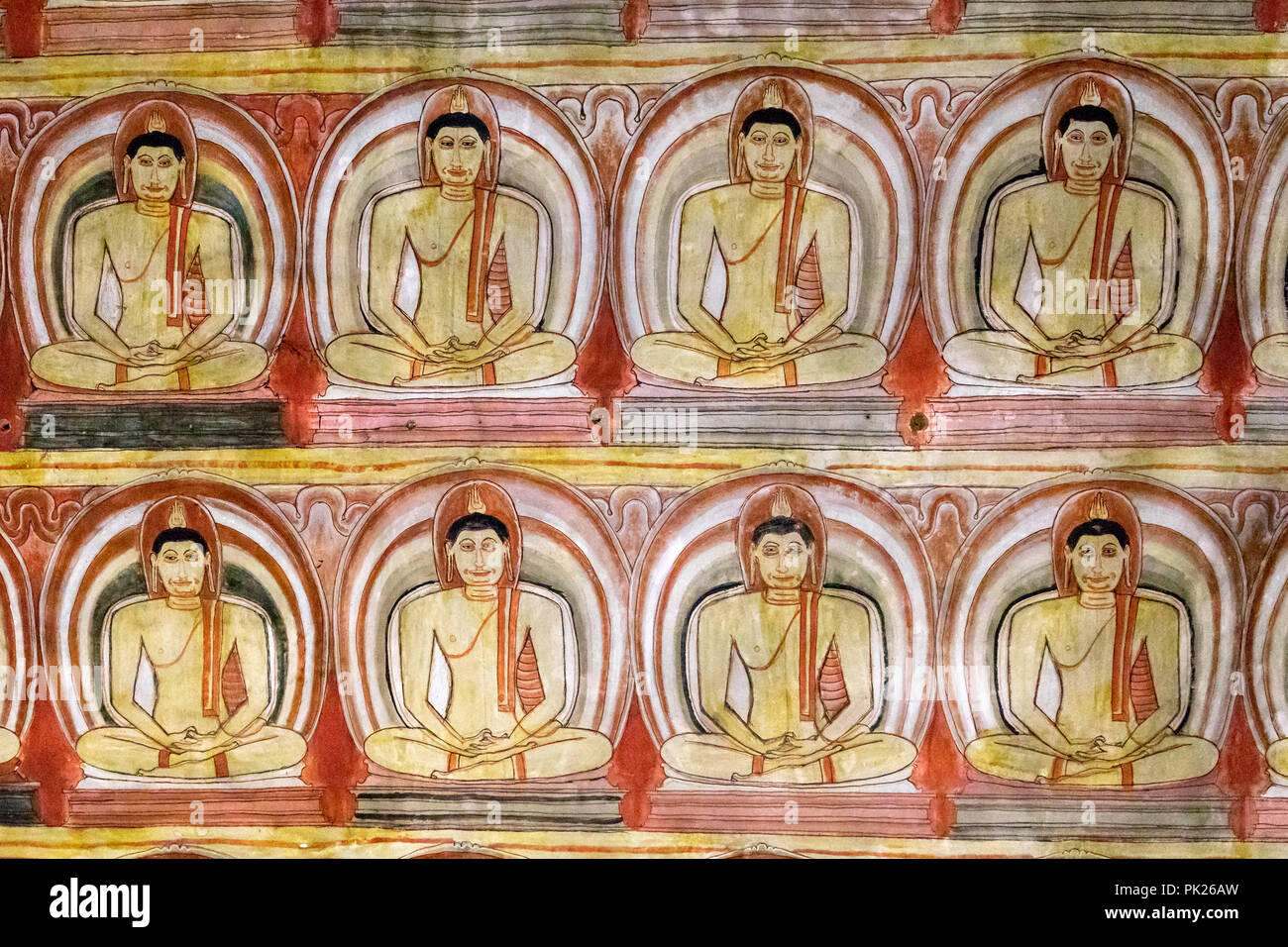 Images of Buddha, Cave of the Great Kings, Dambulla Cave temple, Sri Lanka - Stock Image