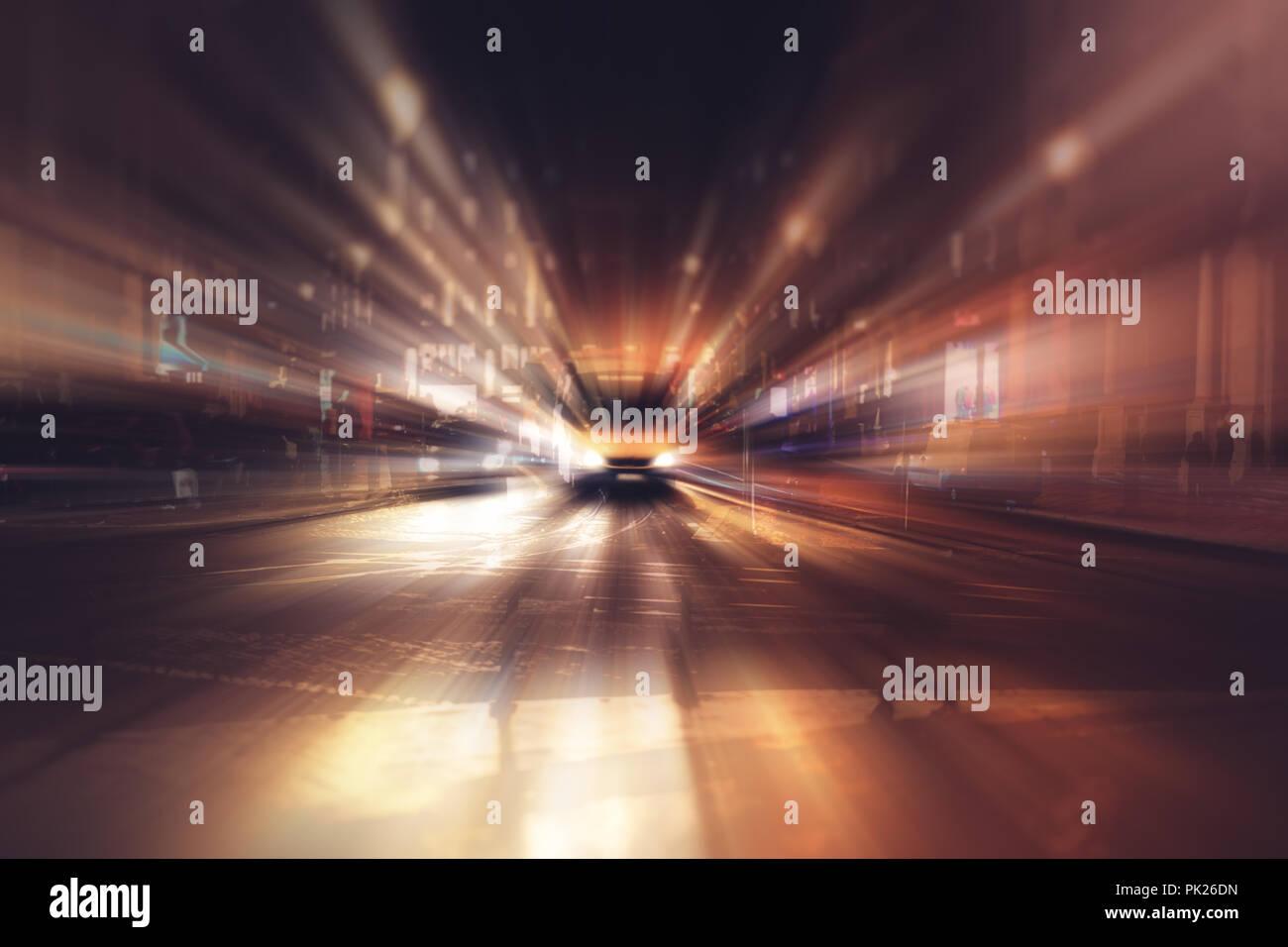 Blurry Illumination And Night Lights Car Traffic Motion Blur The Speed Moving Stock Photo Alamy