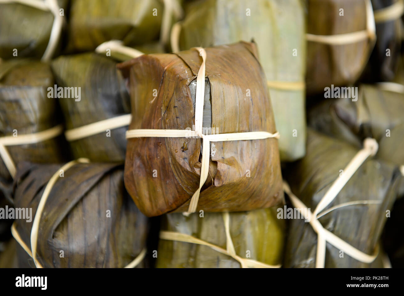 Food Wrapped In Banana Leaves Is Seen On Sale At The Vietnam Culture Festival In Warsaw Poland On September 2 2018 Stock Photo Alamy
