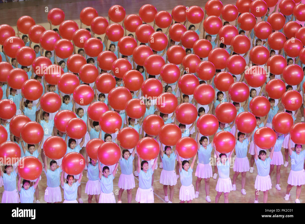 Binzhou, Binzhou, China. 10th Sep, 2018. Binzhou, CHINA-People of ethnic minority groups attend sports meeting in Binzhou, east China's Shandong Province. Credit: SIPA Asia/ZUMA Wire/Alamy Live News - Stock Image