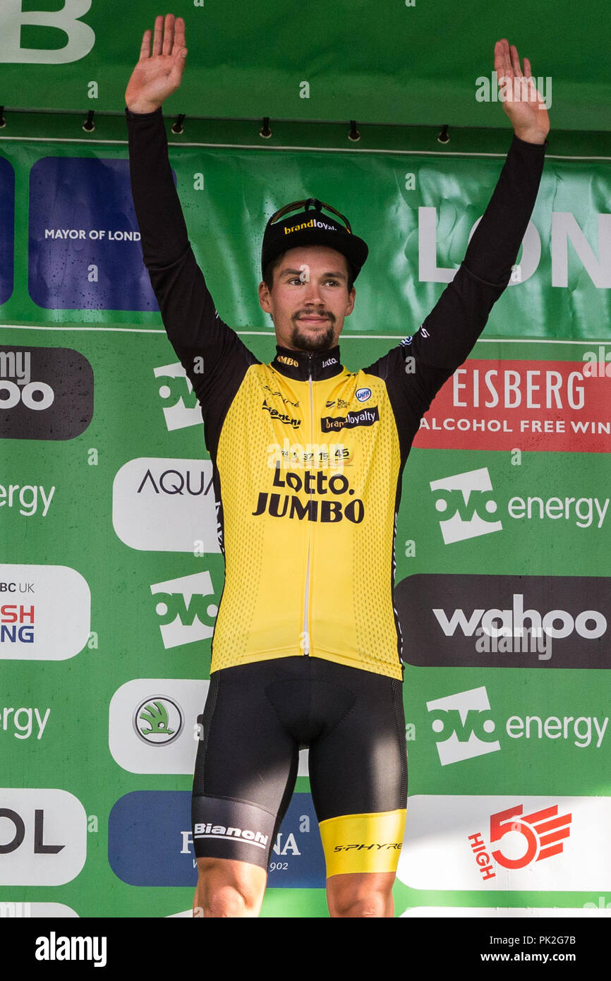 630746336 Former OVO Energy Green Jersey leader Primoz Roglic of Team Lotto NL -  Jumbo finishes third overall in the 2018 OVO Energy Tour of Britain  following the ...