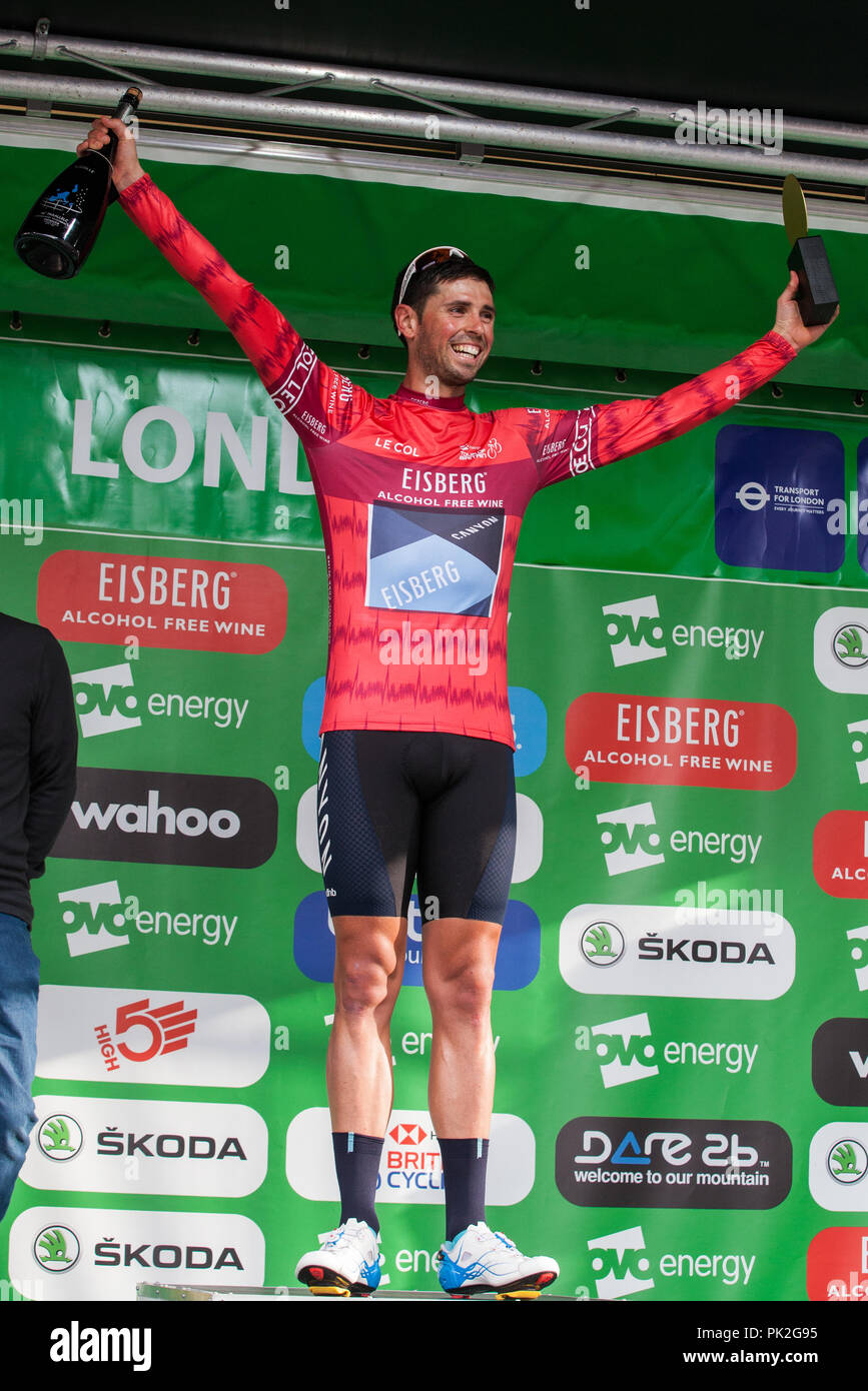 London, UK. 9th September, 2018. Canyon Eisberg's Alex Paton wins the Eisberg Sprints Jersey following the 77km London Stage (Stage 8) of the OVO Energy Tour of Britain cycle race. He won it from Madison Genesis's Matt Holmes in a close race. Credit: Mark Kerrison/Alamy Live News - Stock Image