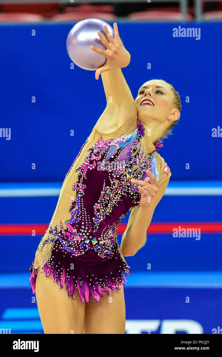 Sofia, Bulgaria. September 10, 2018: Julia Meder of  Austria during Rhythmic Gymnastics World Championships at the Arena Armeec in Sofia at the 36th FIG Rhythmic Gymnastics World Championships. Ulrik Pedersen/CSM Credit: Cal Sport Media/Alamy Live News - Stock Image
