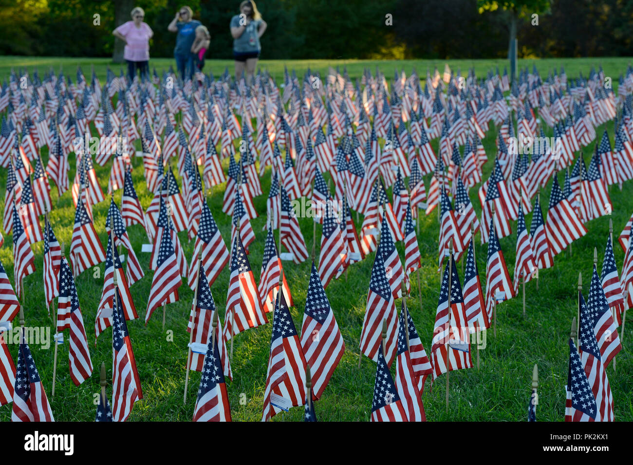Omaha, Nebraska, USA. 10th September, 2018. Tribute of Flags for memory of the victims of terrorist attack of 9/11, 11th September 2001 at world trade center New York City, ground zero Credit: Joerg Boethling/Alamy Live News - Stock Image