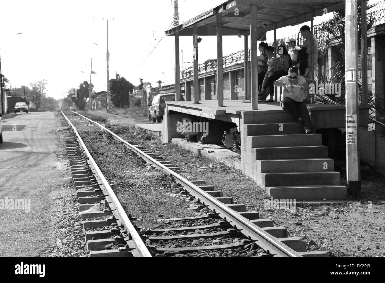 People waiting the train in the country side station, San Jose, Costa Rica Stock Photo