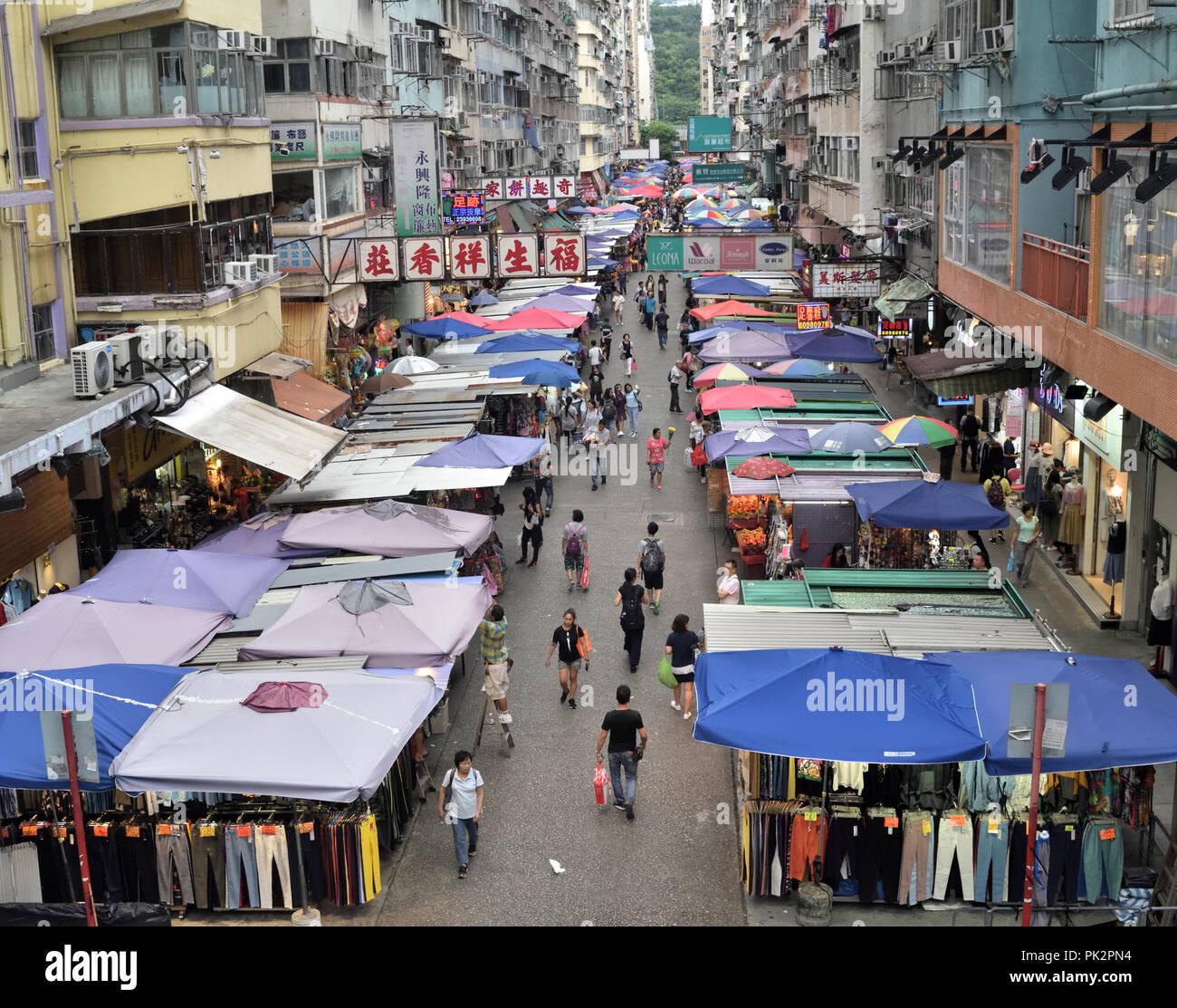Street stalls in Mong  Kok, Kowloon, Hong Kong - Stock Image