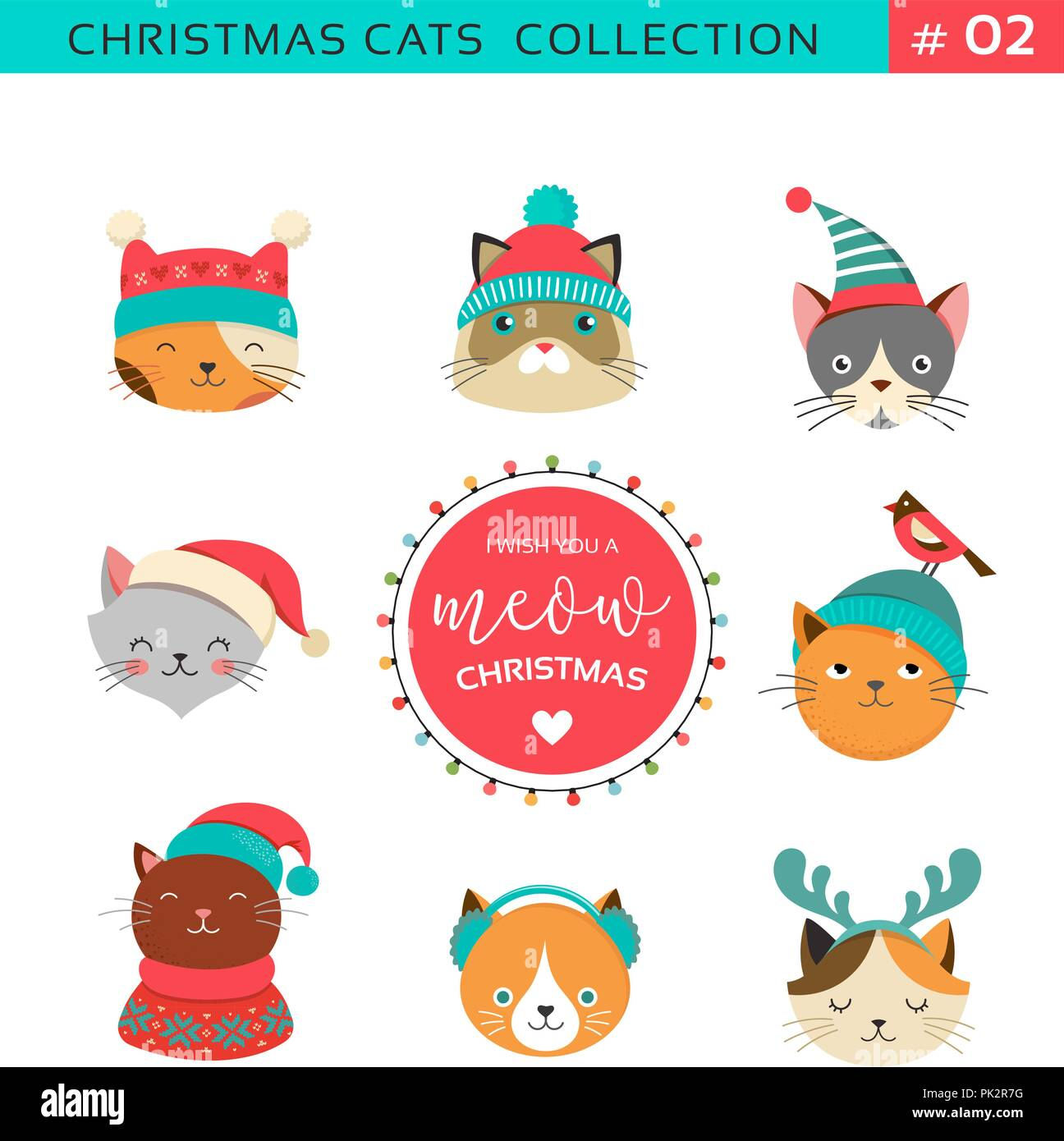 Merry Christmas Greetings With Cute Cats Characters Vector