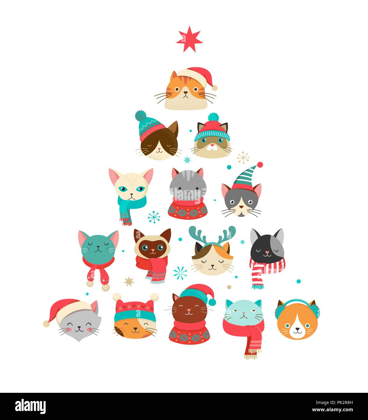Merry Christmas Greeting Card With Cute Xmas Tree With Cats Heads