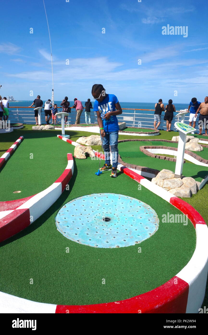 Mini Golf On The Carnival Victory Cruise Ship Stock Photo 218266640