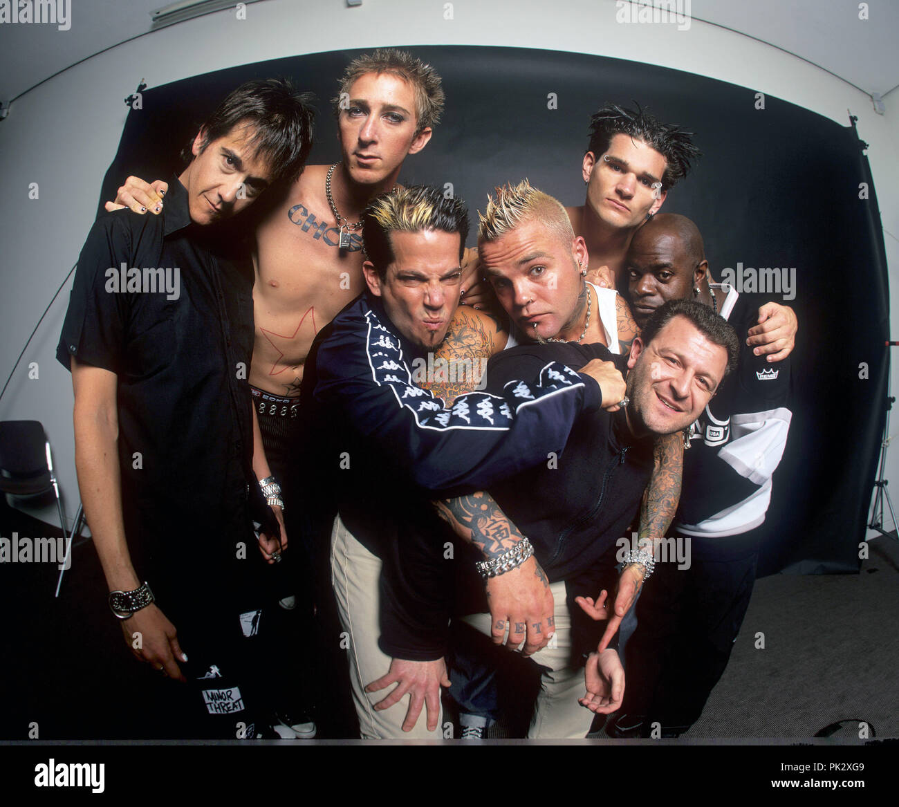 Crazy Town (mit Sänger Shifty Shellshock) on 19.03.2001 in Berlin. | usage worldwide - Stock Image