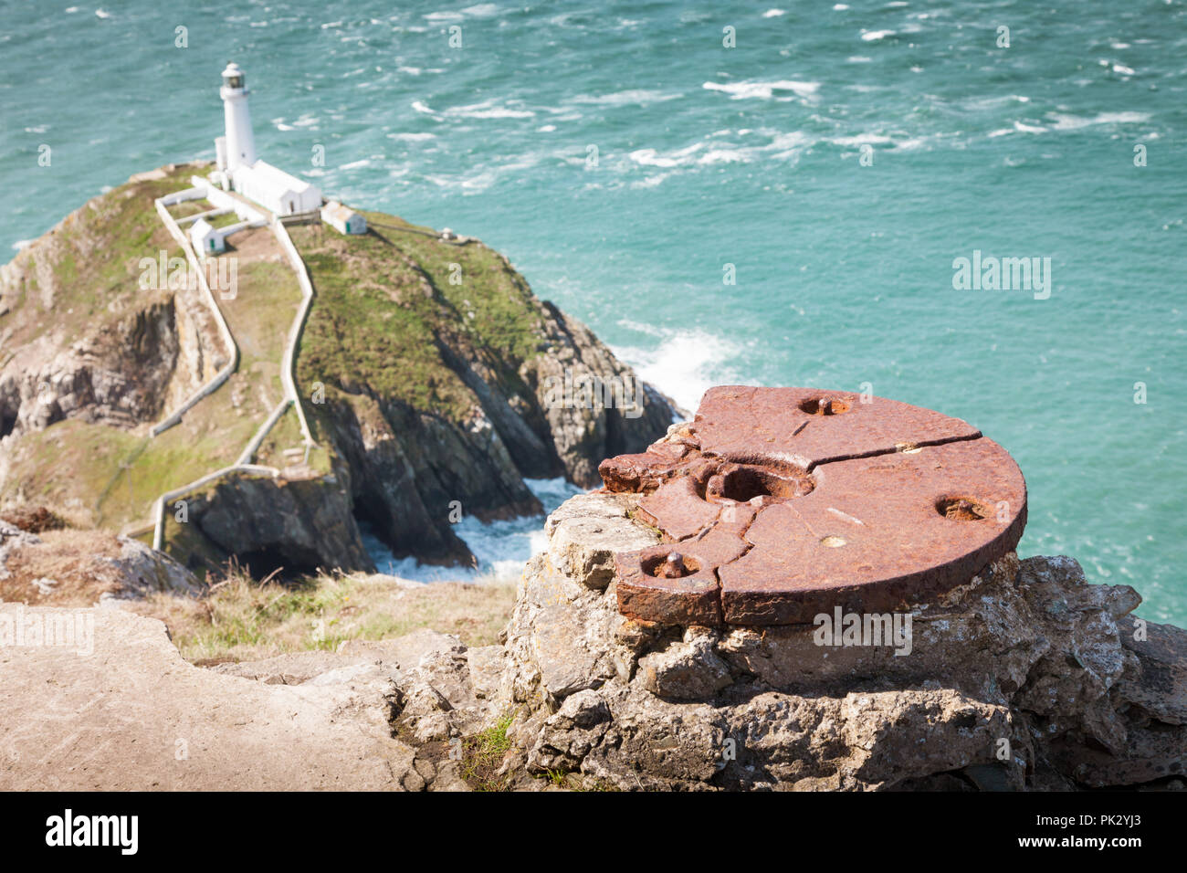 Iron or steel spigot mount for a gun, near South Stack lighthouse, Anglesey, Wales UK - Stock Image