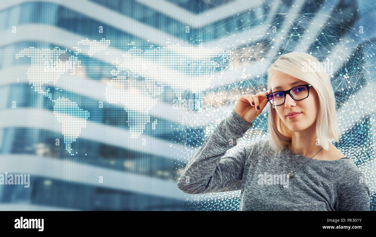 Business woman wearing glasses over digital screen interface. Modern technology artificil intelligence concept. Virtual services for efficiency manage - Stock Image