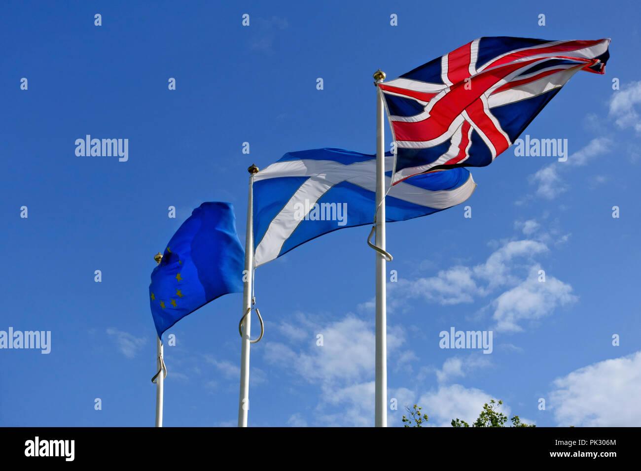 Union Jack, Scottish Saltire and the European Union flags - Stock Image