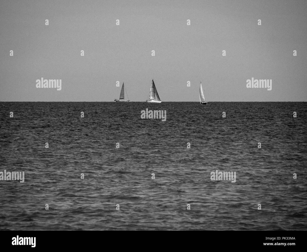Sailing Baltic Sea, Møns Klint, Mon Island, Denmark, Europe. Stock Photo