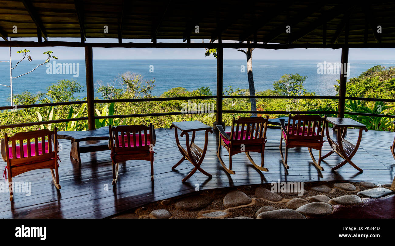 Patio view of the Pacific Ocean from La Cusinga Hotel, Costa Rica - Stock Image