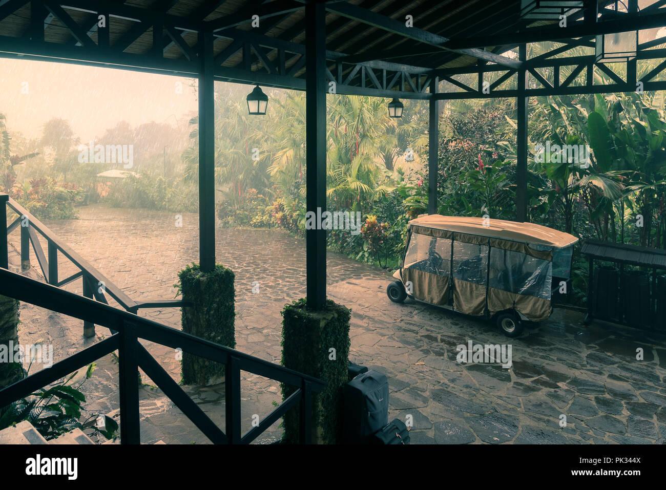 Raining, Mirador El Silencio, San Carlos, Costa Rica - Stock Image