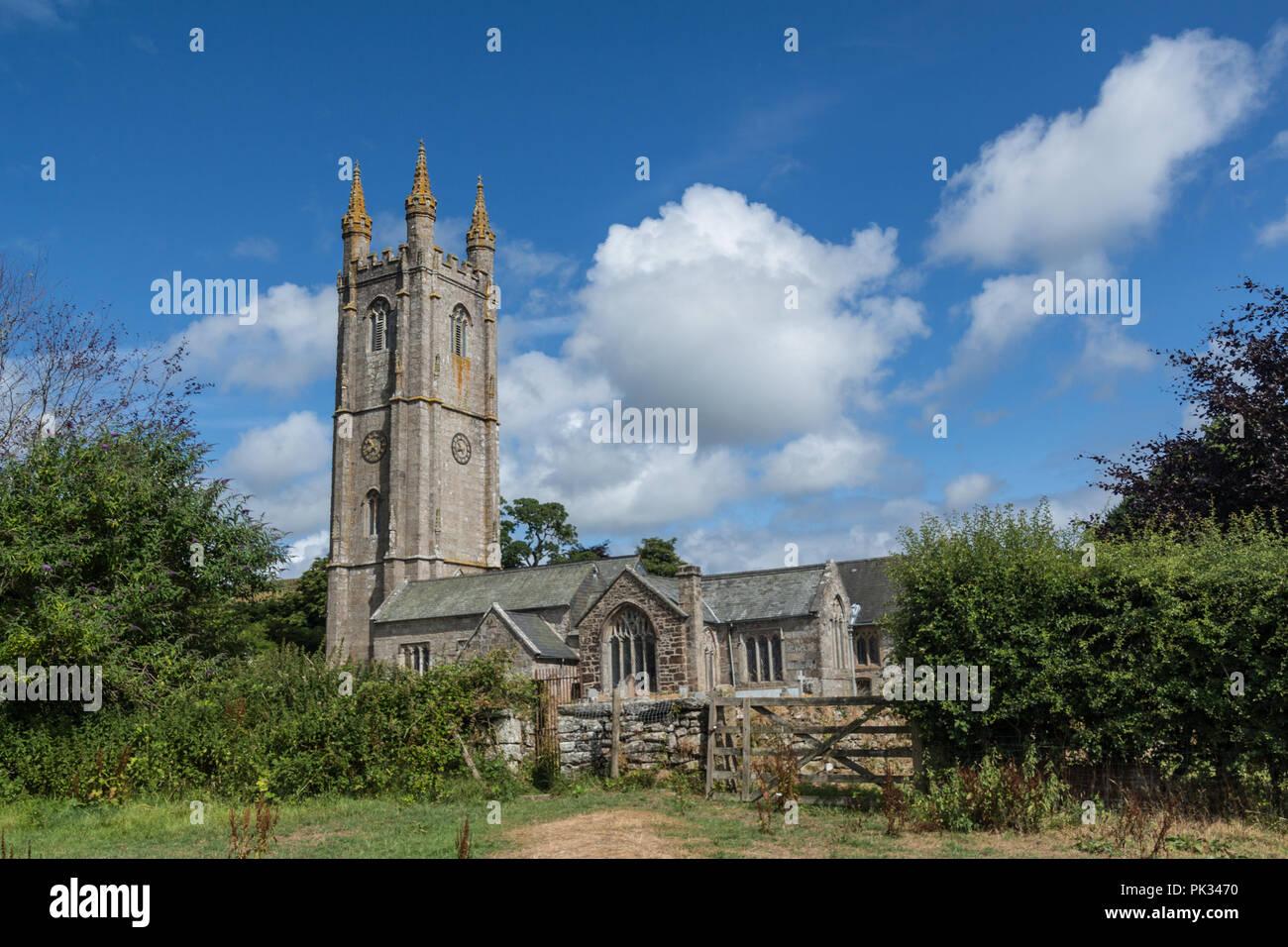 St Pancras Church, Widecombe-in-the-Moor, Devon, UK Stock Photo
